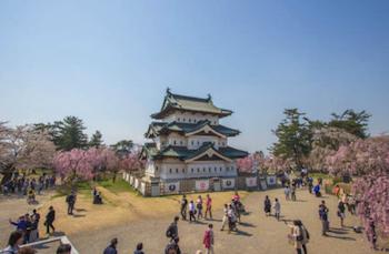 上空から撮影した青森県の弘前公園